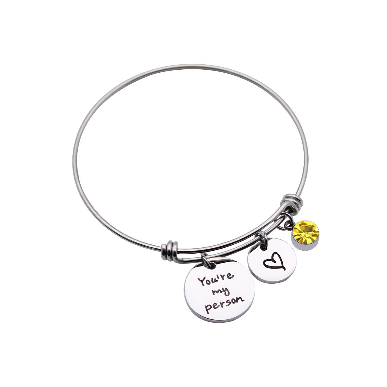 JJTZX You are My Person Greys Anatomy Inspired Charm Expandable Stainless Steel Wire Bangle Bracelet Puzzle Piece Keychains