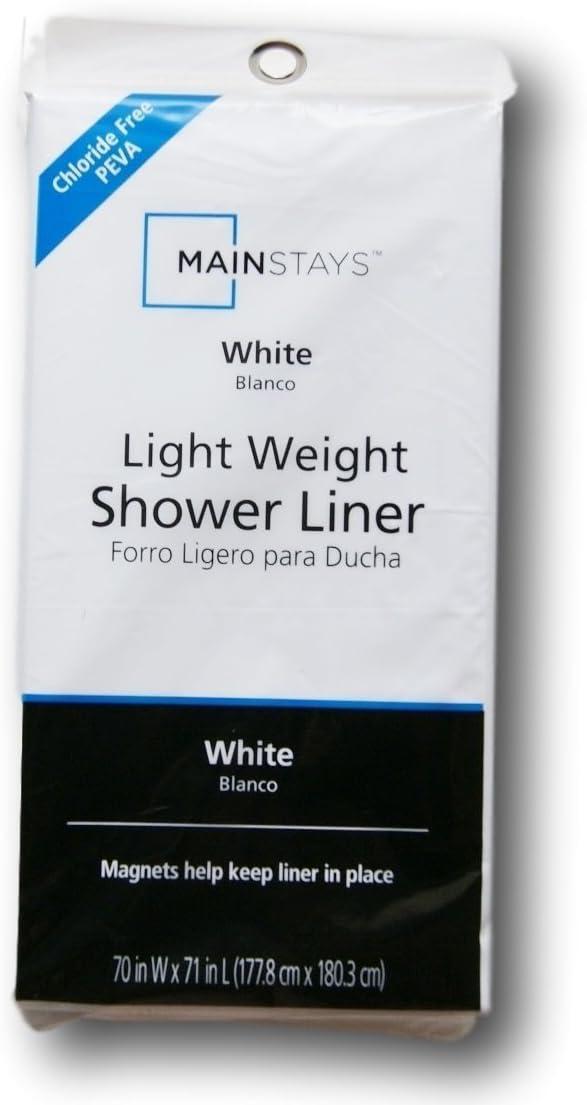 Mainstay Light Weight PEVA Shower Curtain Liner - 70 x 71 - White