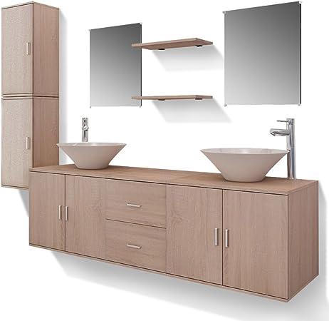 vidaXL Set Muebles para Baño con Lavabo y Grifo Incluido Pack 11 ...