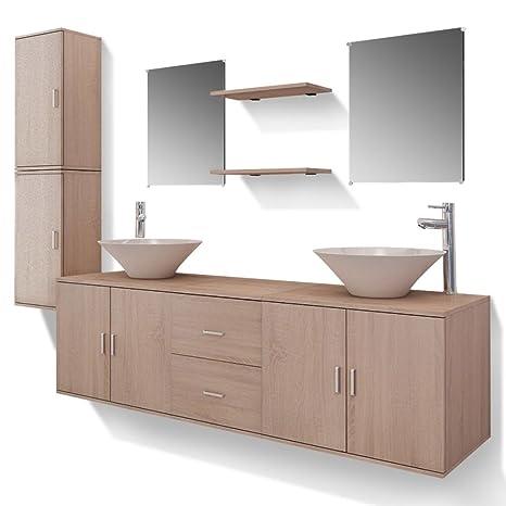 vidaXL Set 11 pz Mobili per Bagno armadietti lavandino specchi con  Rubinetto Beige