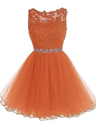 396b3fd892c Sunvary Festlich Neu Spitze Cocktailkleid Kurz Abschlusskleid Abendmode -50-Orange