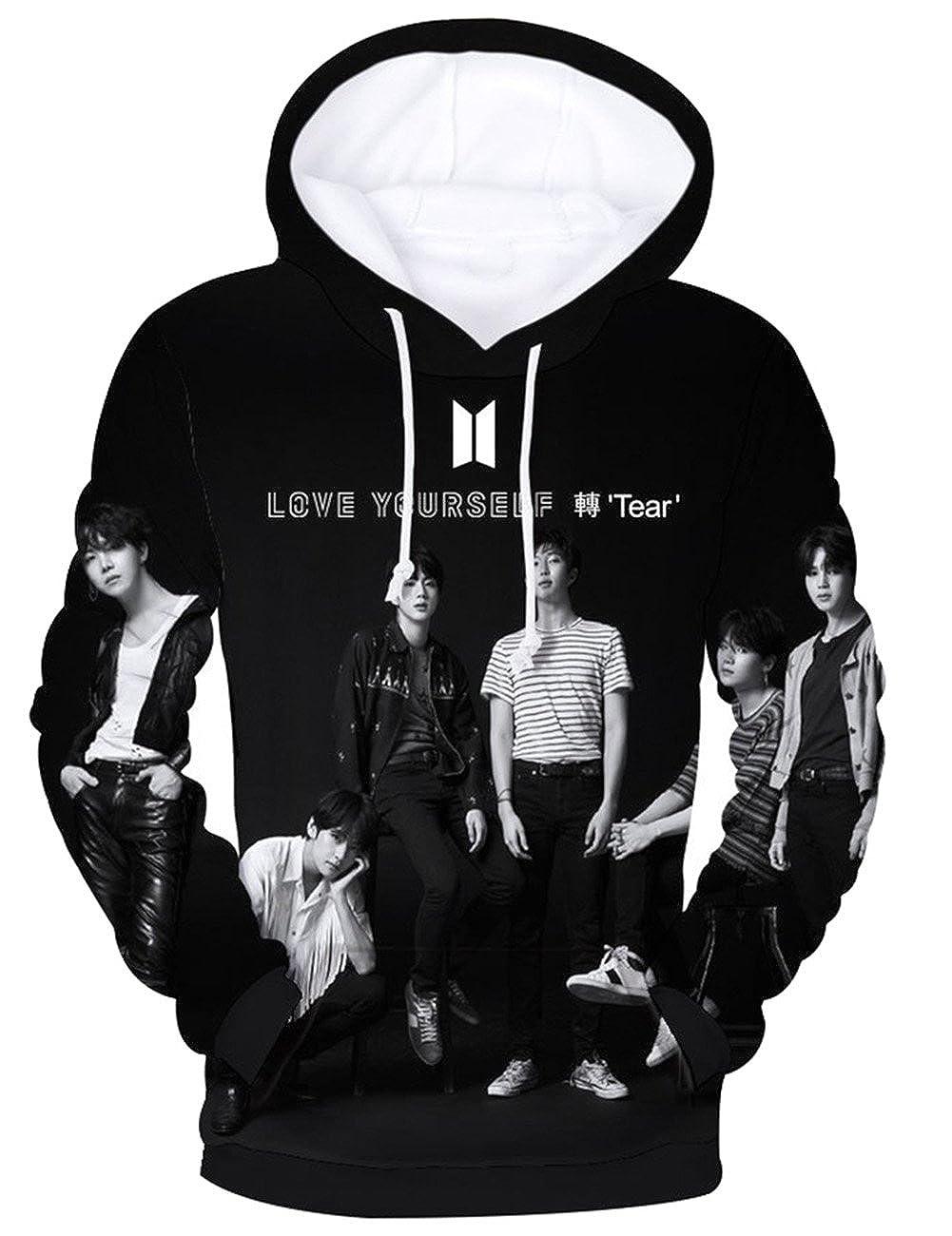d34cb6d0cc029 Fancyku Kpop BTS Unisex 3D Printed Hoodie Sweatshirt Bangtan Boys Printed Pullover  Sweater V Rap-Monster Suga Jin Jimin J-Hope Jung Kook Jacket Pullover
