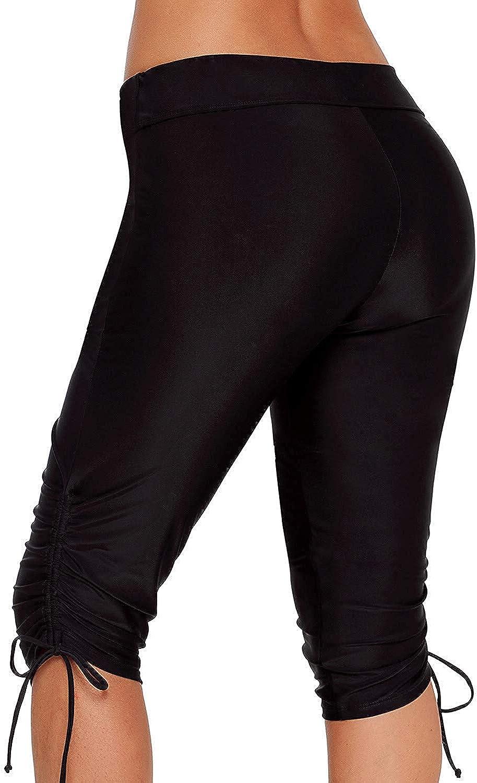 Dona-Brayman Womens Sport Board Shorts Swimsuit Bottom High Waisted Tankini Skinny Capris Swim Shorts /…