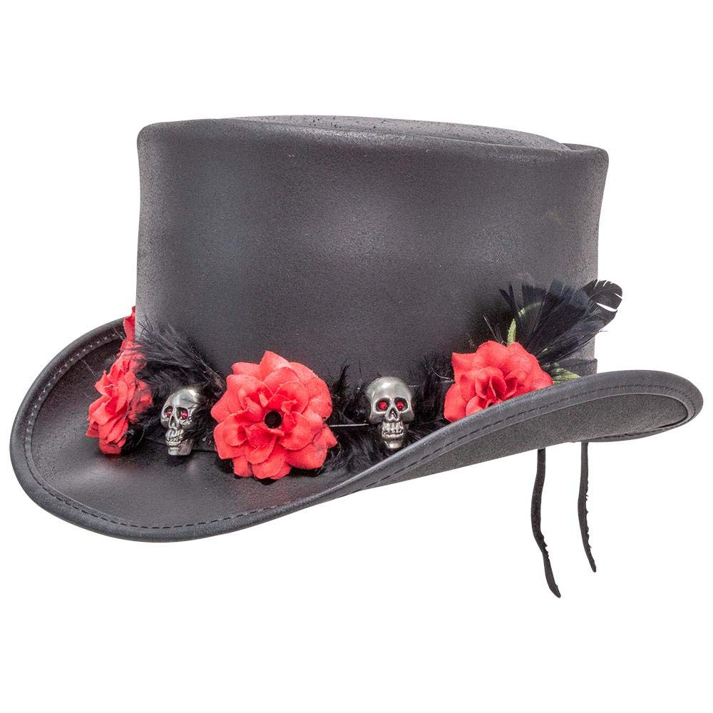 Voodoo Hatter El Dorado-Red Death Band by American Hat Makers Leather Top Hat, Black Finished-Red Death Band - X-Large