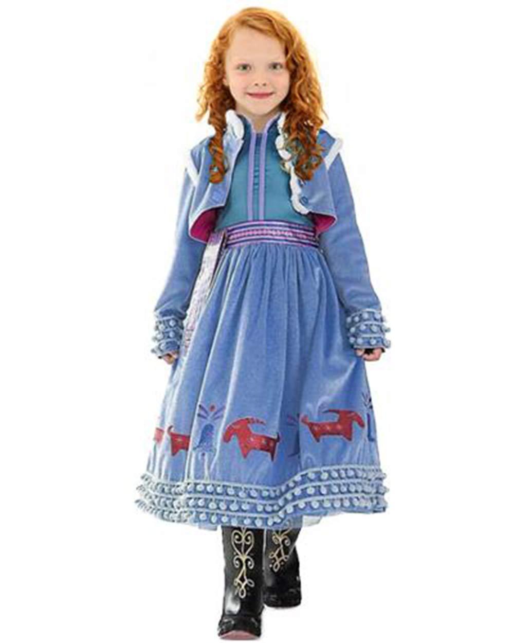 CIRAD Vestido Frozen Niñas Disfraz Anna Elsa (130 (6-7 años ...