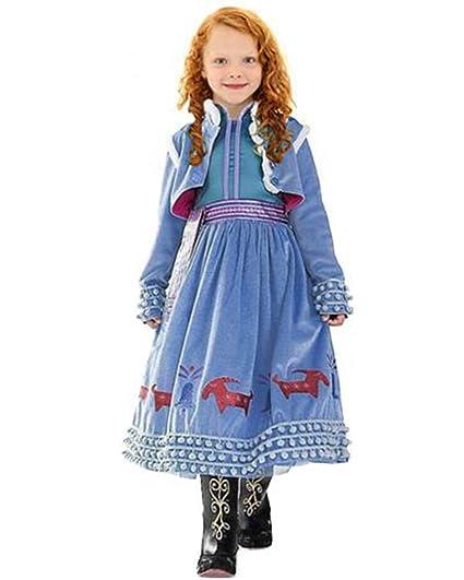 CIRAD Vestido Frozen Niñas Disfraz Anna Elsa (110 (4-5 años))