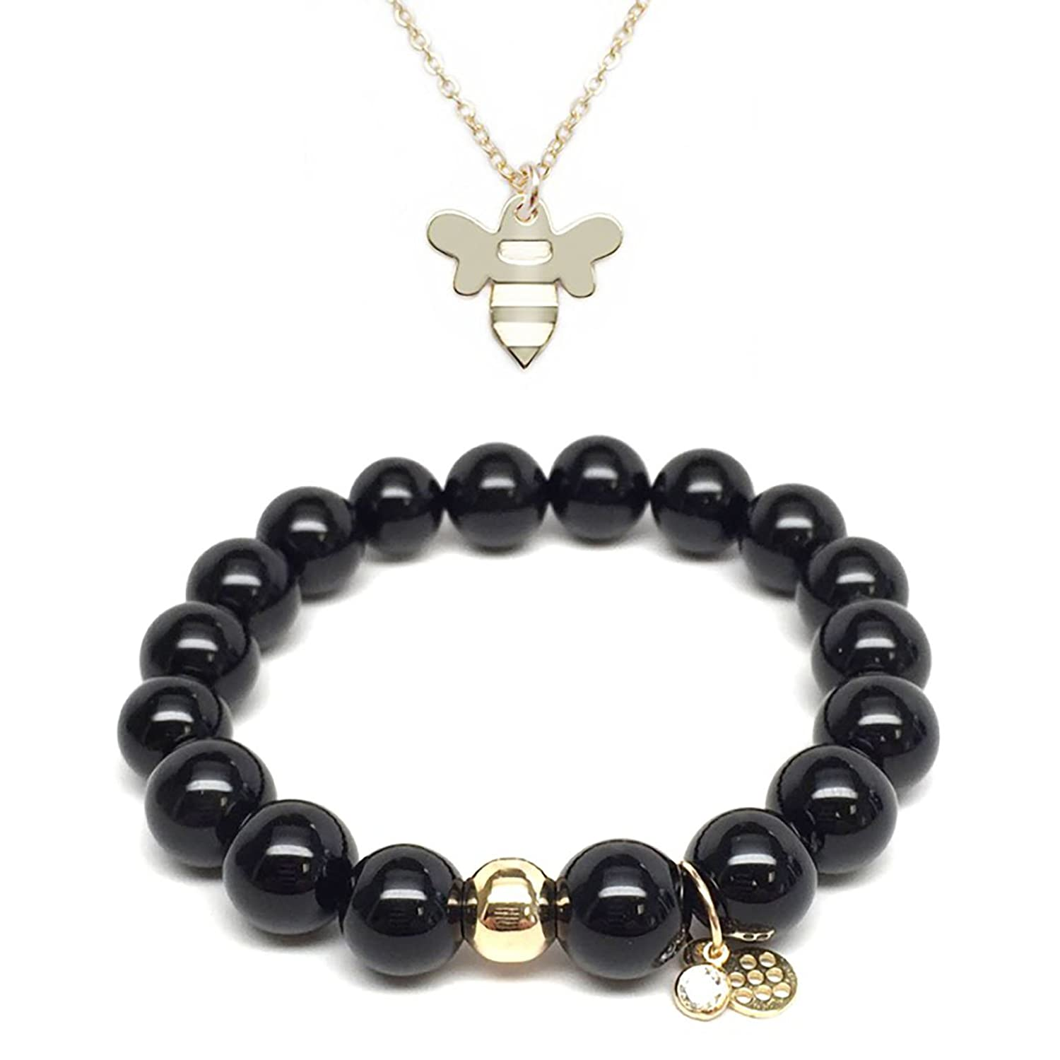TFS Jewelry Set 10mm Black Onyx Emma 7 Gold Stretch Bracelet /& 12mm Bee Charm 16 Gold Necklace