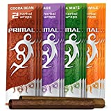 Primal Natural Herbal Wraps Variety Pack, Tobacco & Nicotine Free (24 Total Wraps, 12 Packs of 2) + Beamer Smoke Sticker. Use with Herbal Blends or Cigarette Rolling Tobacco. Compare to Rolling Paper