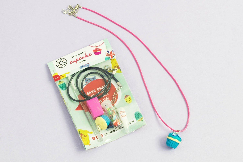Cupcake Necklace Kit. Cupcake Jewellery Kit. Cupcake Craft Kit. Stocking Filler Craft Kit. Kids Craft Kit.