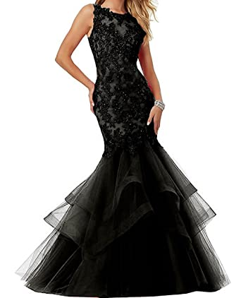 menoqo Mermaid Prom Dress Applique Tulle Long Sleeveless Prom Party Evening Dresses for Women