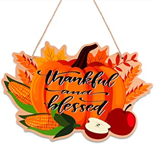 """SICOHOME Thanksgiving Hanging Sign,8""""x 12.5"""" Thankful and Blessed Pumpkin Fall Hanging Sign for Halloween Autumn Harvest Thanksgiving Decoration Home House Kitchen Decor"""