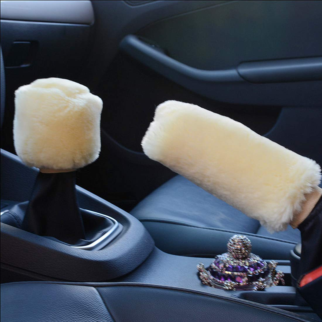 Andux Land Handbrake Cover Non-Slip Car Decoration Steering Wheel Gear Universal Winter Warm Shift Plush Cover FXPT-01 Pink