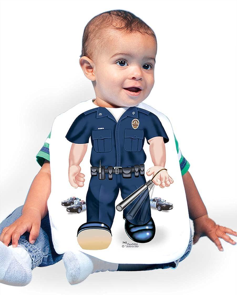Just Add A Kid Baby Boy's Policeman 745 Baby Bib 0-6 Months White