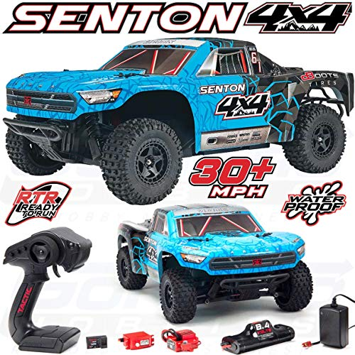 (ARRMA SENTON 4x4 MEGA Electric RC RTR Remote Control 4WD Short Course SC Truck with 2.4GHz Radio, 7C 2400mAH NiMH, Charger, 1:10 Scale (Blue/Black))
