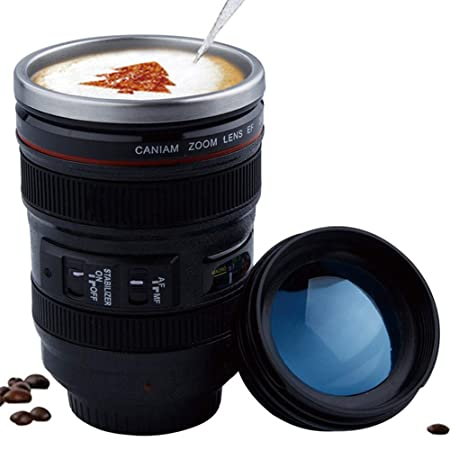 694b992b1d3 Camera Lens Mugs 400ml Coffee Cup Stainless Steel Travel 24-105mm Camera  Lens with Transparent