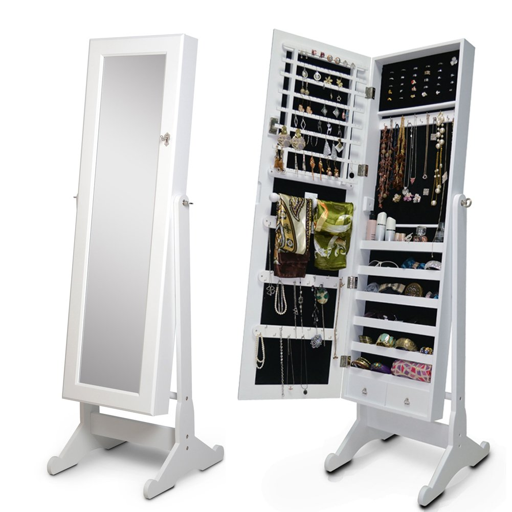 Organizedlife White Mirror Jewelry Armoire Floor Standing Cabinet Necklace Case Gift for Valentine Day