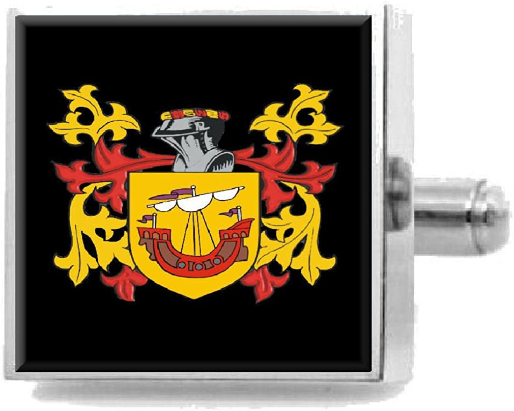 Select Gifts Algar England Heraldry Crest Sterling Silver Cufflinks Engraved Message Box
