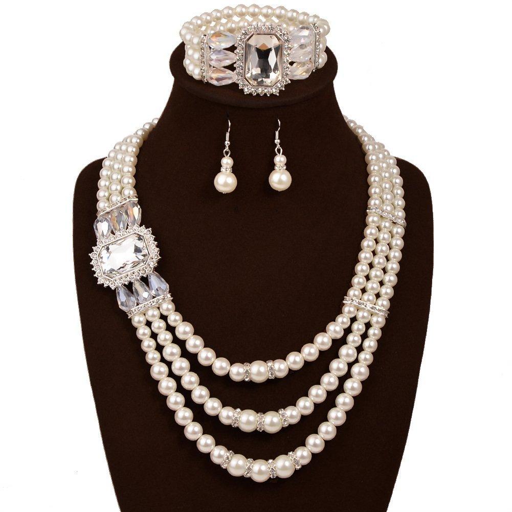 IYOCHO Three Layer Pearl Diamond Collar Necklace Earrings Set