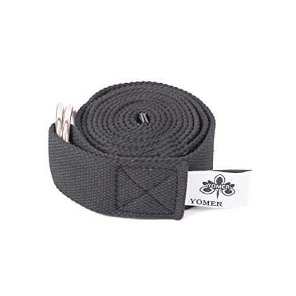 Amazon.com : Cotton Black Yoga Strap With Metal Ring Buckle ...