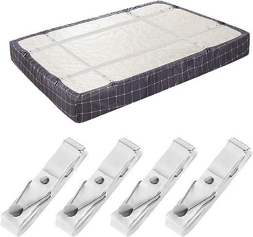 4pcs Elastic Fitted Bed Sheet Holder Grip Mattress Gripper Clip Fastener White