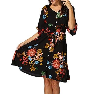 e74d0d4ea7d Women s Boho Button Up Split Floral Print Flowy Party Dress Ladies Casual  Half Sleeve V-