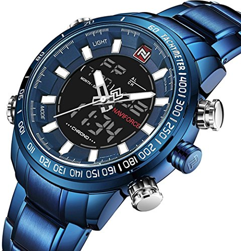 Big Face Sports Watch for Men,Multifunctional Waterproof Military Wrist Digital Watches in Blue Stainless Steel Band Brand 2018 New