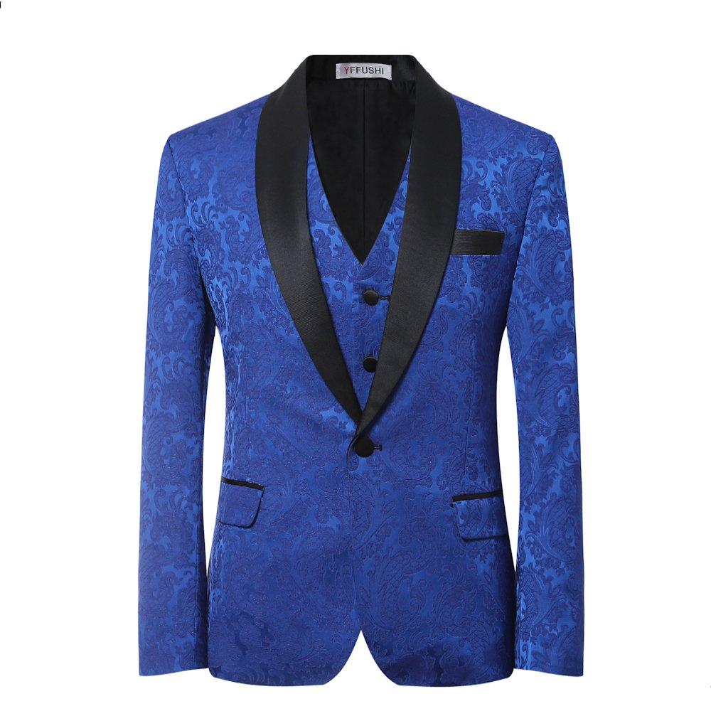 YFFUSHI Men's Elegant Jacquard 3 Piece Suit Slim Fit Royal Blue Tuxedo (XXXXXX-Large, Blue)