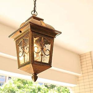 HJW Decorative Lighting Vintage Outdoor/Indoor Hanging Lamp Aluminum Glass Lampshade Adjustable Suspension Light Corridor Aisle Garden Grape Rack Villa Park E27 Rainproof Outdoor Chandelier,Brass