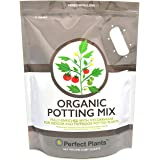 Organic Potting Mix by Perfect Plants for All Plant Types - 8qts for Indoor and Outdoor Use, Great for Veggies, Herbs, and Ca
