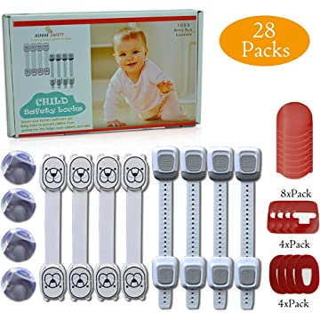 Baby Safety Strap Locks for Child Proof Cabinets, Drawers, Appliances,Toilet Seat, Fridge and Oven, No Tools or Drilling, Easy to Install and Remove