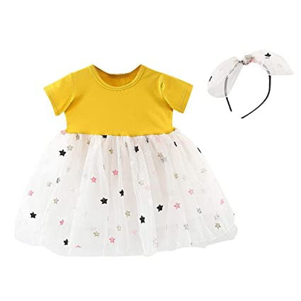 5cd644b801b Toddler Baby Girl Tulle Outfits Set - 2PC Crew Neck Short Sleeve Tutu Skirt  with Star