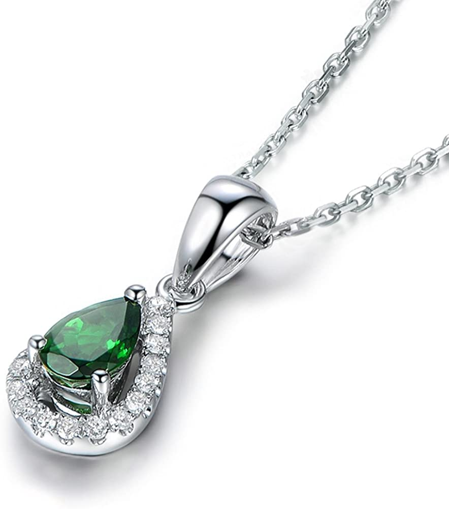 FB Jewels Solid 925 Sterling Silver Rhodium Garnet Pear-Shaped Pendant