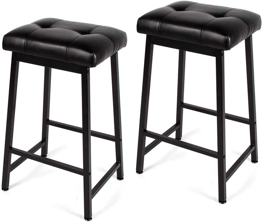 YOLENY 30 Modern PU Leather Adjustable Barstools, Backless Kitchen Counter Bar Stools with Comfortable Cushion