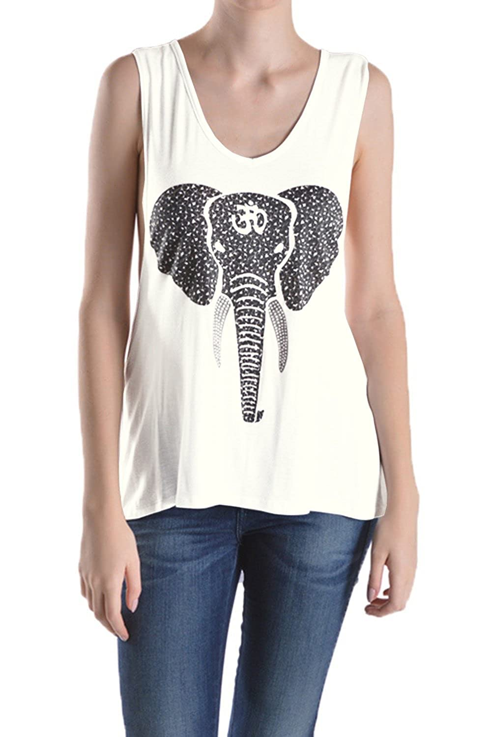 Tough Cookie's Women's Elephant Yoga Twist Tank Top (Medium/Large, Ivory)