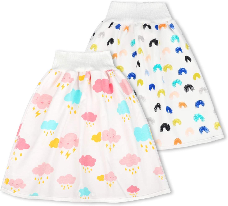 panthem 2 Pack Baby Diaper Skirt 2 in 1 Waterproof Toddler Girls Potty Training Skirt Cotton Washable Toilet Training Nappy Skirt for 0-8 Years Baby Boys Girls