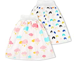 2 Packs Cotton Training Pants Waterproof Cloth Diaper Skirts for Baby Boy and Girl Night Time Sleeping Bed Clothes for Potty