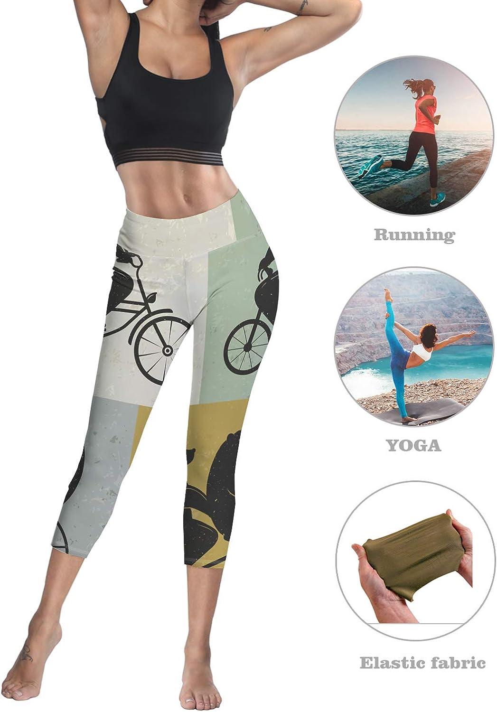 Printed Leggings for Women Ocean Water Palm Tree at Sunrise 3//4 High Waist Yoga Pants Sport Gym Leggings Workout