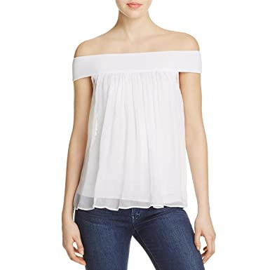 9c200378b2167 Amazon.com  Bailey 44 Womens Tizhit Silk Off-The-Shoulder Blouse White XS   Clothing