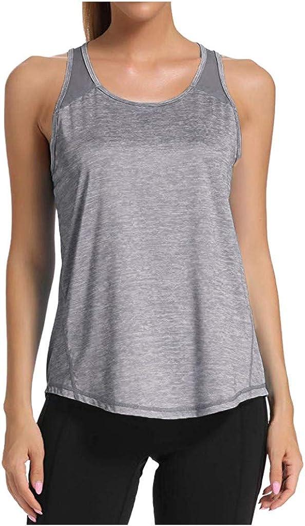 aihihe Workout Tank Tops for Women Mesh Back Racerback Tanks Yoga Sleeveless T Shirts Blouse Tunic Gym Clothes