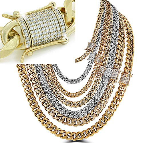 Yellow Plated Stainless Steel Bracelet - Harlembling Men's Miami Cuban Link Chain - Iced Out Diamond Clasp - Iced Out Men's Heavy Chain 18