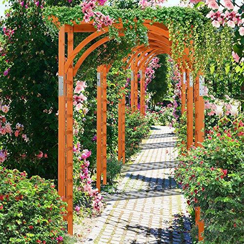 Alek...Shop Front Door Walkway Decorate Pergola Style, Wedding Arches, Catering Decoration 7Feet Wooden Garden Decor Arch Archway Trellis Arbor Plants Floral Backyard Outdoor Grow Plant Support