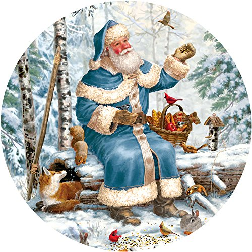 Bits and Pieces - 300 Piece Round Jigsaw Puzzle for Adults - Santa Feeding Time - 300 pc Christmas Winter Holiday Jigsaw by Artist Liz Goodrick-Dillon
