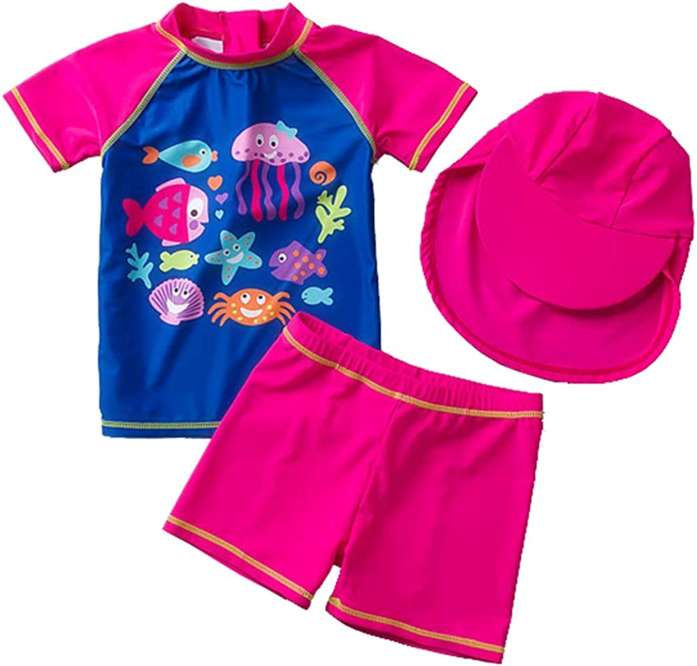 Digirlsor Baby Toddler Girl Swimsuit Two Piece Bathing Suit UPF 50 UV Protection Swimwear Rash Guard Set with Hat,1-5Y