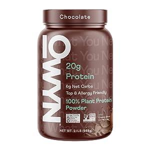OWYN - 100% Vegan Protein Powder   Chocolate 2.1 lb Tub   Dairy-Free, Gluten-Free, Soy-Free, Allergy-Free, Super Greens, Probiotics