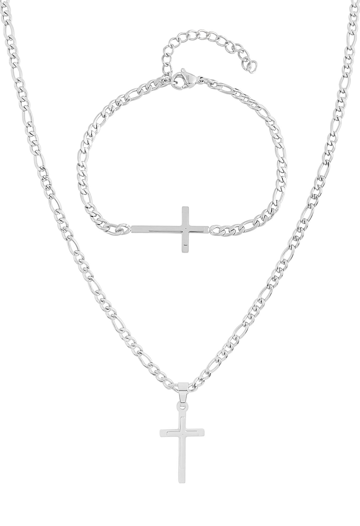 EDFORCE 20 inch Women's Men's Stainless Steel Silver Figaro Link Chain Necklace Cross Pendant with Matching 8.5 inch Figaro Link Bracelet Jewelry