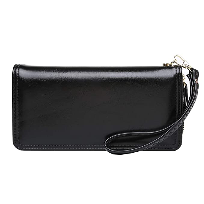 5cf76a1b4872 Wallets for Women Oil Wax Leather Credit Card Holder Zip Around Clutch Long  Purse with Wrist Strap