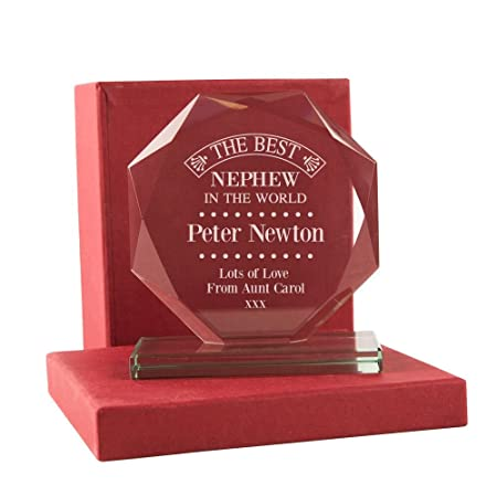 Personalised Nephew Birthday Gift Engraved Best In The World Keepsake Glass Award With