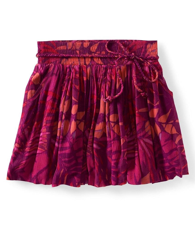 Aeropostale Womens Belted Fern Print Woven Mini Skirt