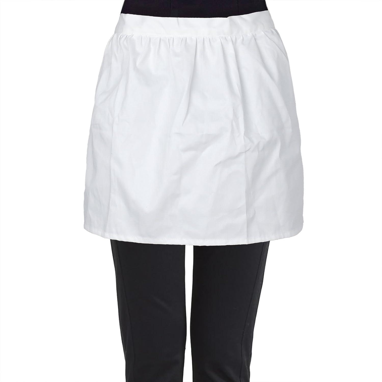 Aspire White Half Aprons, Cotton Kitchen Cafe Waitress Waist Apron Tea Party Maid Working Costume-White-M