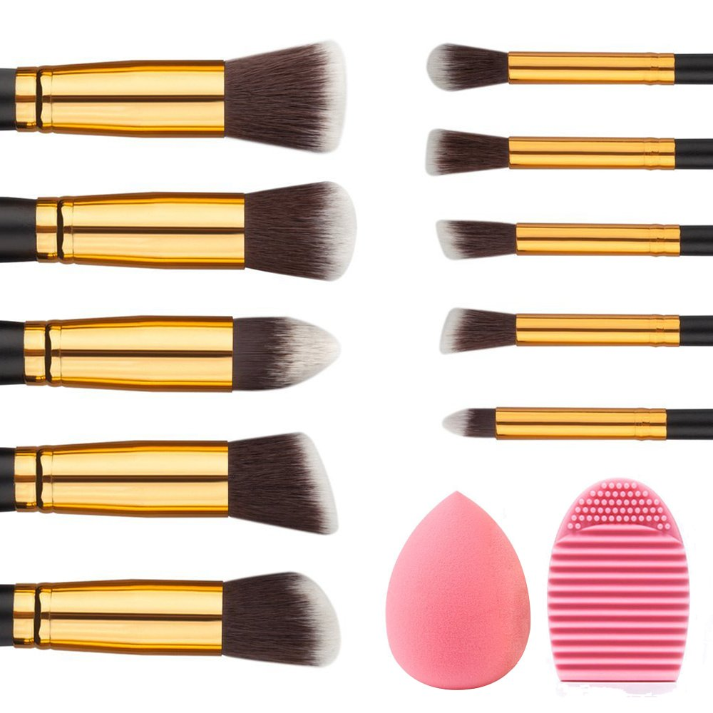 Makeup Brushes Professional - Rantizon 10 Pcs Premium Makeup Brush Set Synthetic Kabuki, Foundation Face Powder Brush Eyeshadow Brushes Contour, Blending Cosmetics Tools + Sponge and Brush Egg Cleaner